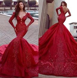 9c5be820e3e1 Arabic Red Long Sleeves Lace Mermaid Evening Dresses 2019 V Neck Lace  Applique Beaded Sweep Train Prom Dress Saiid Kobeisy BC0669