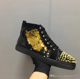 Ladies brown Lace up boots online shopping - overseas2019 Leather Sneakers Red Bottom Men Lady Designer Shoes Walking Shoe Patchwork Cool Boots