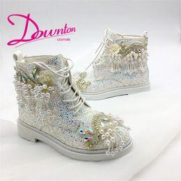 $enCountryForm.capitalKeyWord Australia - Downton Handmade Crystals Pearls Martin style Boots Wedding Shoes Bridal Martin boot Shoe bridesmaid High-top Ladies boots size 34-39