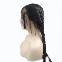 Discount synthetic braiding hair free - Free Shipping 1B# 2# Double Braids With Baby Hair Synthetic Lace Front Wigs Long Braided Box Braids Wig Heat Resistant F