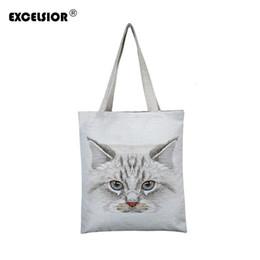$enCountryForm.capitalKeyWord Australia - EXCELSIOR Lovely Cat Printed Women's Casual Tote Large Capacity Canvas Female Shopping Bag Ladies Shoulder Handbag Beach Bag