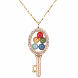 Gold caGe charm online shopping - G1292 Pearl Beads Cage Gold Ellipse Key With Rhinestone Magnetic Glass Floating Locket Pendants Women Charms Necklace