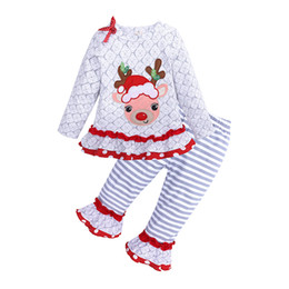christmas clothes Australia - Christmas Kid Baby Girls Sets Clothes Infant Long Sleeve Santa deer Dress Bow Print Tops Striped Pants suit kids girl outfits boutiques