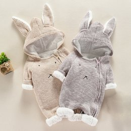 Wholesale bunny 3d cute for sale – custom Muqgew Newborn Infant Baby Girl Boy Clothes Cute d Bunny Ear Romper Jumpsuit Playsuit Autumn Winter Warm Babies Rompers Costume J190524