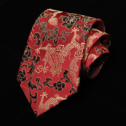 Chinese Wholesale Red Dresses Australia - Luxury Mens Dress 9cm Gorgeous National Wind Red Chinese Dragon Pattern Jacquard Groomsman Groom Wedding Silk Tie