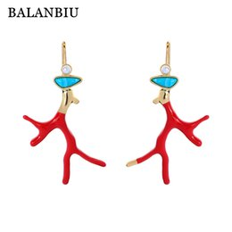 Coral earring fashion jewelry online shopping - BALANBIU Red Enamel Coral Earrings For Women Gifts Resin Gold Color Drop Earrings Acrylic Pearl New Fashion Jewelry Dropshipping