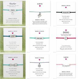 $enCountryForm.capitalKeyWord Australia - Wish Bracelet With Gift Card Dog Paw Love Unicorn Teacher Charm Bracelets Bangles for Women men Friendship Statement Jewelry Greeting Cards
