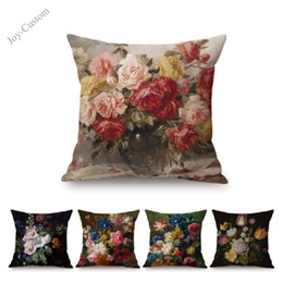 painted art chairs Australia - Oil Painting Flower Floral Art Home Decorative Sofa Throw Pillow Case Cotton Linen Square Car Pillow Chair Cushion Cover 45x45cm