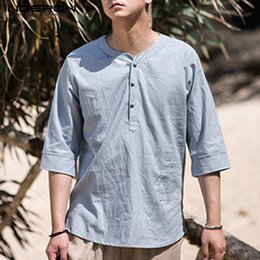 Men's Clothing Efficient 2019 New Chinese Style Kimono Men Shirt Sleeve Casual Streetwear Men Shirt Man Kimono Shirt Men Clothes M-5xl