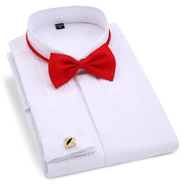 $enCountryForm.capitalKeyWord Australia - Men Wedding Tuxedo Long Sleeve Dress Shirts French cufflinks Swallowtail Fold Dark button design Gentleman shirt White Red Black
