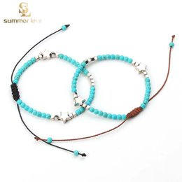 Alloy Ccb Australia - New Arrival 4mm Turquoise Beads Bracelet for Women Silver Color Star CCB Adjustable Size Handmade Woven Bracelet Fashion Jewelry