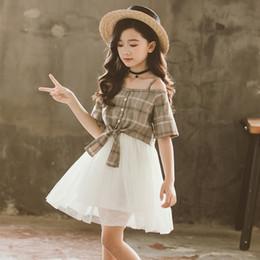 $enCountryForm.capitalKeyWord NZ - Girl princess dresses Summer Short Sleeve Off Shoulder Plaid Top + White Dress 3-12Y girl wedding party tutu dress children birthday costume