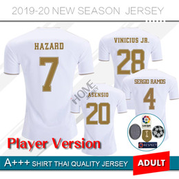 Wholesale Player version Real Madrid Soccer Jersey home HAZARD soccer shirt ASENSIO ISCO MARCELO madrid Football uniforms