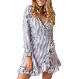 aedaaedf Autumn V Neck Sexy Bandage Striped Dress Irregular Ruffle Hem V Neck Tie  Long Sleeve Blue Dresses Elegant Sweet Vestidos