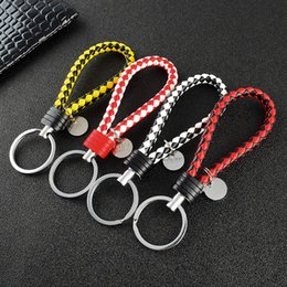Ring men silveR Red stone online shopping - DIY Leather Cord Keychain Braided Rope Key Ring Bag Car Buckles Pendant Keyrings for DIY Jewelry