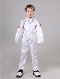 Discount quality kids suits - High Quality Two Button White Boy Formal Wear Handsome Boy Kid Attire Wedding Wear Birthday Party Prom Suit(jacket+pants