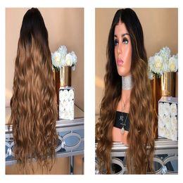 $enCountryForm.capitalKeyWord Australia - French female wig, long curly hair, big wave, black gradient, light brown fiber dyeing, comfortable to wear.TKWIG