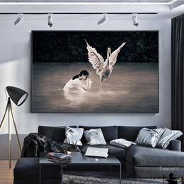 wall decor black art canvas Australia - Abstract Prayer Girl and Swan Canvas Art Modular Paintings Black White Print and Poster Wall Art Bedroom Living Room Decor