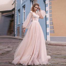 $enCountryForm.capitalKeyWord UK - Romantic Blush Pink Wedding Gowns 2019 New Puffy Long Sleeve Hollow Back Lace Boho Bridal Gowns Sweep Train Vestido De Novia
