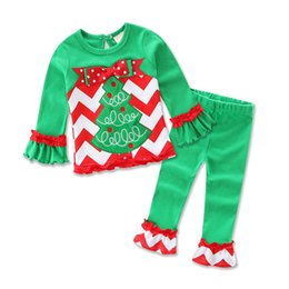 christmas clothes Australia - kids clothing girl cute Christmas style green long sleeve tops +pant sets two-piece sets girl clothes bg1