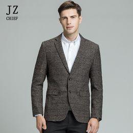 Elbow Patched Australia - Jz Chief Men's Wool Blazer Striped Jacket Elbow Patch Blazer High Quality Tweed Blazers Coat Business Casual Overcoat Plus Size Y190420