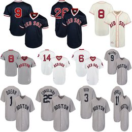 China Men's Boston Red 1975 Fred Lynn Sox Jerseys Carl Yastrzemski Jim Rice Luis Tiant Bobby Doerr Williams Cooperstown Collection Baseball Jersey supplier cooperstown collection jerseys suppliers