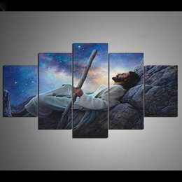 Art Church Australia - New Jesus And Starry Sky Canvas Painting Unframed 5 Pieces Wall Art Modular Picture HD Print Room Poster Church Decor