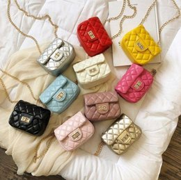 Wholesale Boxes Packaging Australia - Hot mini kids chain purses children one shoulder packages multicolor casual outdoor handbags shopping box