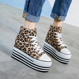 Lace Vulcanized Canvas Shoes Australia - Woman Wedges Canvas Shoes Height Increasing Casual Shoes female Lace-Up High-top Sneakers Leopard Platform Vulcanized B082