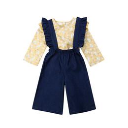 $enCountryForm.capitalKeyWord Australia - Autumn Children Clothing Casual Newborn Kids Baby Girls Long Sleeve Printed T-shirt Tops Ruffles Suspender Pants Outfits Clothes