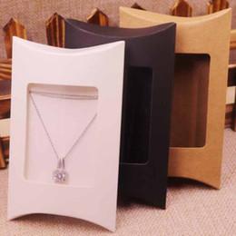 $enCountryForm.capitalKeyWord Australia - 100pcs box &10 Inner Card 2018 New DIY Kraft Paper window Pillow Box Necklace Jewelry Display Clear Pvc Pillow Box