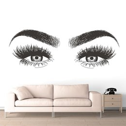 long wall stickers Australia - Beauty Salon Decoration Long Lashes Vinyl Wall Sticker Eyelashes Eyebrows Vinyl Decal Removable Eye Lashes Wallpaper AZ139 SH190925