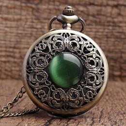 Pendenti di collana di pietra di giada imitazione cava di bronzo decorato Orologio da tasca Decorazione di smeraldo presenta Chian Men Women Gifts