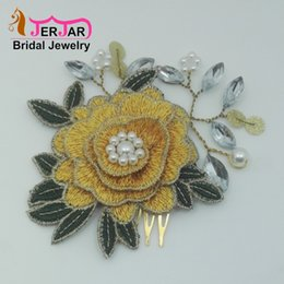 Golden Hairs Australia - Golden Bridal Hair Combs Elegant Embroidery Hair Jewelry Fashion Bridesmaid Headpiece Women Hairstyle Headwear New Ornaments Accessories