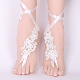 3a57f0f24 Gold Beach Wedding Sandals Australia - 1 Pair Elegant Lace Wedding Barefoot  Sandals Anklets Shoes With