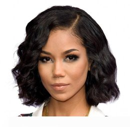cheap human hair lace fronts UK - Short Bob Wigs Brazilian Virgin Human Hair Glueless Lace Front Wigs Virgin Hair Cuts Cheap Wavy Wig