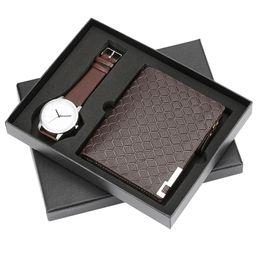 $enCountryForm.capitalKeyWord Australia - Fashion Watch Mens Quartz Wrist Clock Wallet Gift Set Simple Design Brown Leather Purse Mens Watch Gift for Male reloj masculino
