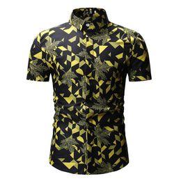 $enCountryForm.capitalKeyWord Australia - 2019 new Summer Fashion Men Shirt Slim Fit Short Sleeve Leaf floral pattern Shirt Mens Clothing Trend Casual tops Flower Shirts