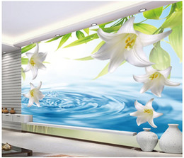 live wallpaper lily 2019 - 3d wallpaper on the wall custom photo mural Water lily flower landscape background Home decor living Room wallpaper for