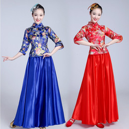 traditional chinese tang suits NZ - Chinese Traditional Women Hanfu party Dress Classical Chinese dance stage costume for singers Hanfu Tang suit Ancient Costume
