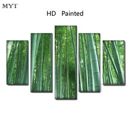 $enCountryForm.capitalKeyWord Australia - Green bamboo forest scenery photo High Quality HD Printed 5 Pieces big size Canvas Wall Art pictures for living room Home Decor no framed