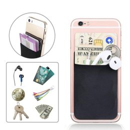 Elastic Cell Phone Australia - New Elastic Mobile Phone Wallet Credit ID Card Holder Pocket Adhesive Sticker Fashion New Cell Phones & Accessories