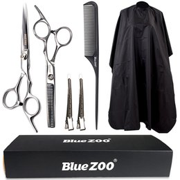 Blue zoo hair salon household waterproof cloth scissors carbon comb duck bill clip haircut 6 piece suit dhl free shipping on Sale