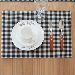 White Cotton Napkins Australia - cotton and linen black and White Checker mat table mat heat insulation pad bowl cloth cover tableware Western napkin cloth