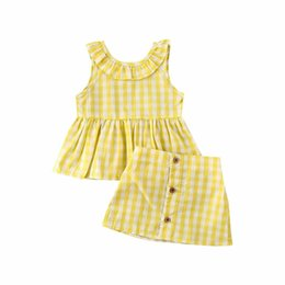 girl mini skirt sleeveless top Australia - Summer Infant Newborn Baby Girls Kids Plaid Sleeveless Tops Vest + Mini Skirt Casual Clothes 2pcs Sets
