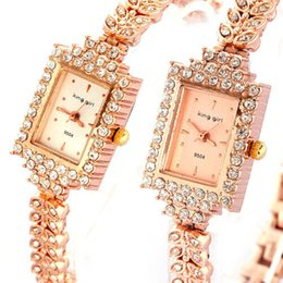 Wholesale Gold Color Bracelet Watches Women Luxury Rhinestone Dress Stainless Steel Wrist Watches Clock Women s Trendy Casual Quartz Watch