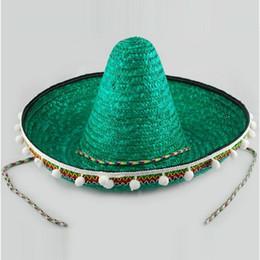 $enCountryForm.capitalKeyWord Australia - 60cm Adult Mexico Cap Christmas Customs Hat Hawaii Medium Bobble Hat Straw Woven Cap Pompon Decorative Cap Performance B-2922 Y19070503