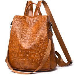 $enCountryForm.capitalKeyWord UK - SUNNY SHOP Women Fashion Leather Backpack Purse Rucksack School Shoulder Bag Casual Travel Backpack Anti Theft Crocodile Pattern
