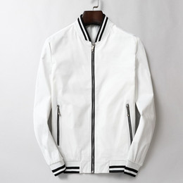 Bussiness jacket online shopping - Brand Mens Designer Long Sleeve Jackets Spring Autumn Zipper Fomal Bussiness Coats Stand Stripe Collar Youth Outerwear Top Quality B100239V