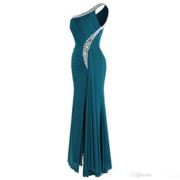 Robe Model UK - 2019 Latest Elegant One Shoulder Prom Dresses Ruching Beading Ribbon Long Dress Sleeveless Formal Dress Evening Dress Robe de soiree DL6501